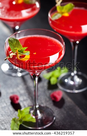 Red Alcoholic Cocktail with Raspberry Gin. Garnished with Fresh Mint Leaves and Lemon Citron - stock photo
