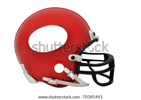 Red American football helmet with copy space isolated on white background with clipping path. - stock photo