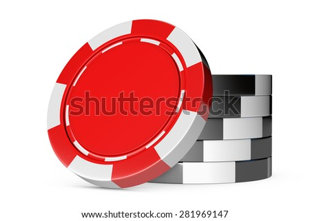 Red and black casino tokens isolated on white background - stock photo