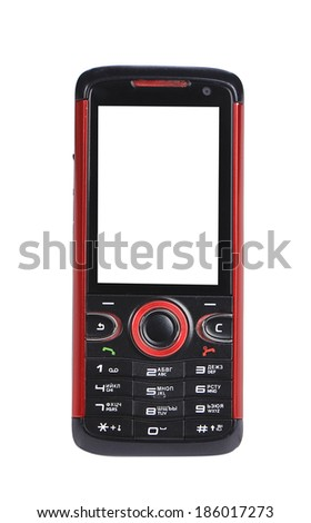 Red and black cell phone. Isolated on a white background. - stock photo