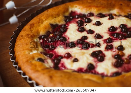 Red and black currant  cake - stock photo