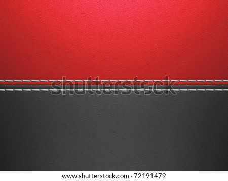 Red and black horizontal stitched leather background. Large resolution - stock photo
