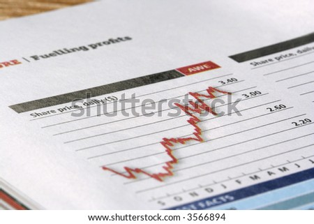 red and black positive share price chart on paper,lots of details. - stock photo
