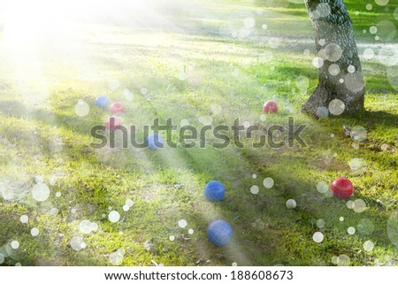 Red and blue balls. Summertime, Bocce balls in green grass - stock photo