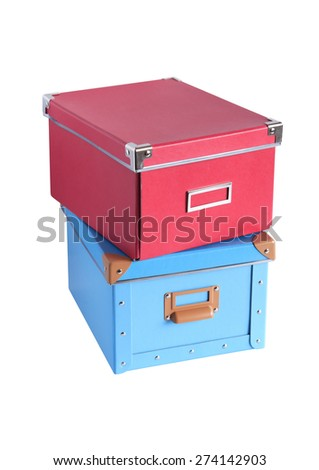 Red and blue cardboard boxes isolated on white with clipping path - stock photo