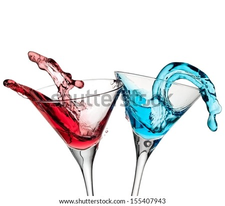 Red and blue cocktails up - stock photo