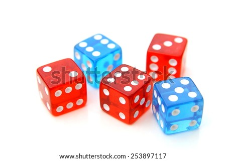 red and blue dices over a white background - stock photo