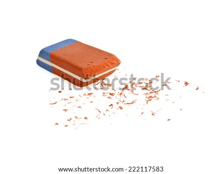 Red and blue eraser on a white background - stock photo
