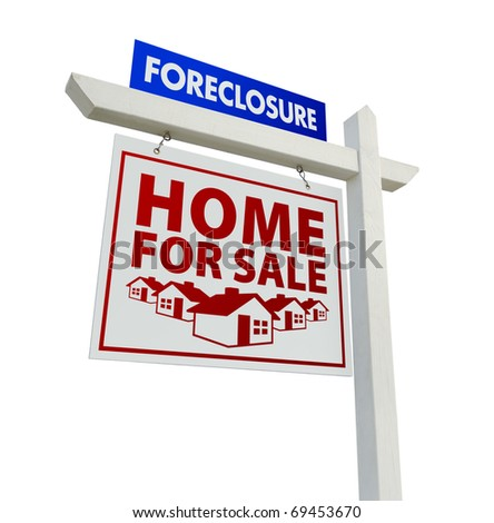 Red and Blue Foreclosure Home For Sale Real Estate Sign Isolated on a White Background. - stock photo