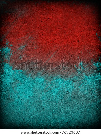 Red and Blue grunge cement wall background - stock photo
