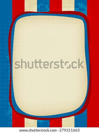 Red and blue grunge USA flag background / frame - stock photo