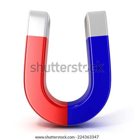 Red and blue horseshoe magnet isolated on white background. Front view - stock photo