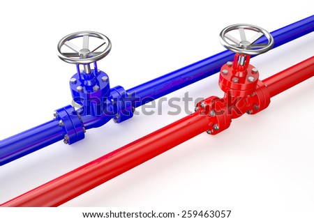 Red and blue pipelines and valves isolated on white background - stock photo