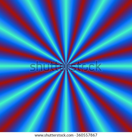 Red and Blue Pleats / A digital abstract fractal image with a radial pleated or cone design design in blue and red. - stock photo