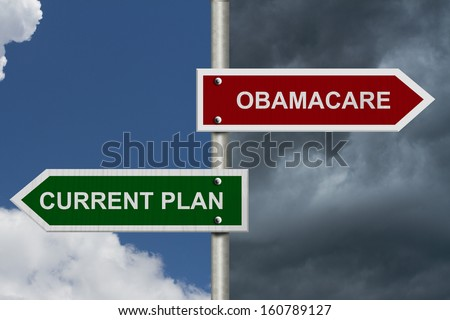 Red and blue street signs with blue and stormy sky with words Current Plan and Obamacare, Current Plan versus Obamacare - stock photo