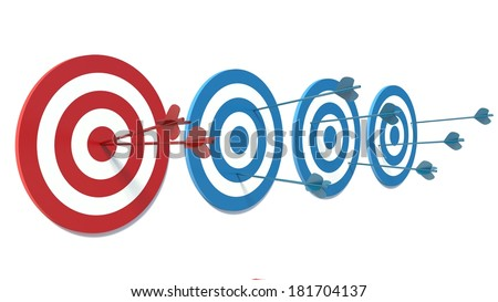 Red and Blue targets. Success - stock photo