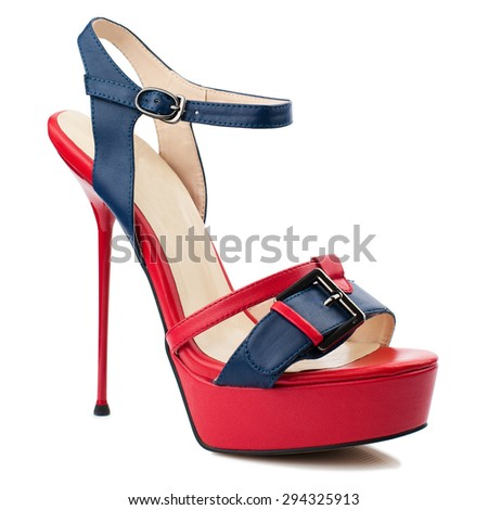 Red and blue women shoe isolated on white background - stock photo