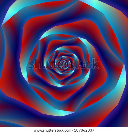 Red and Blues Spiral Rose / Digital abstract fractal image with a spiral rose design in red and blues. - stock photo