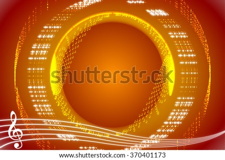 red and gold abstract music background, particle notes - stock photo