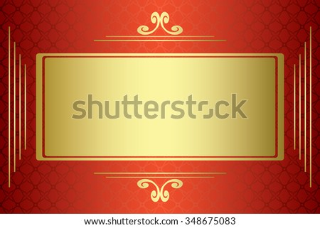 red and gold card with gold frame - stock photo