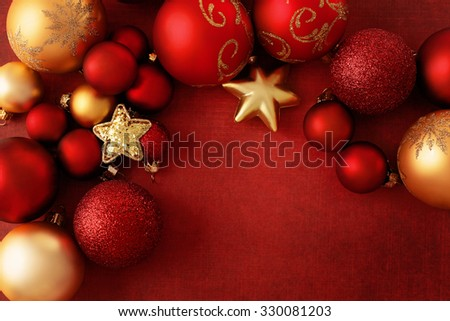 red and gold christmas ornaments - stock photo