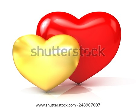 Red and gold hearts. 3D render illustration isolated on white background. Front view - stock photo