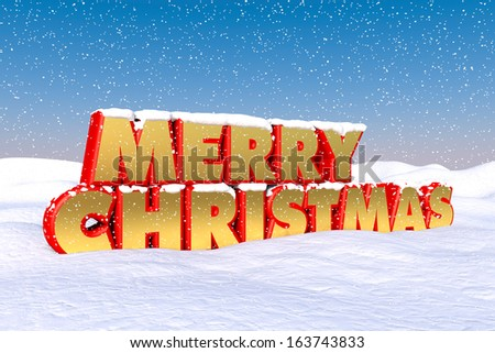 Red and gold Merry Christmas greetings in the snow - stock photo