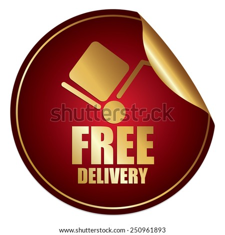 Red and Gold Metallic Free Delivery Sticker, Icon or Label Isolated on White Background  - stock photo