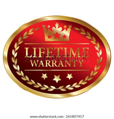 Red and Gold Metallic Oval Shape Lifetime Warranty Label, Sticker, Banner, Sign or Icon Isolated on White Background - stock photo