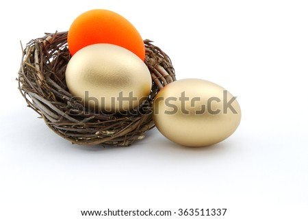 Red and gold nest eggs reflect risk issues in investments threatening portfolio, business, pension, savings, retirement goals.  - stock photo