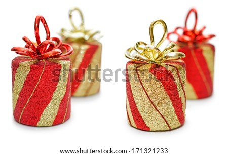 Red and golden gift box with ribbon and bow isolated on the white background, clipping path included. - stock photo