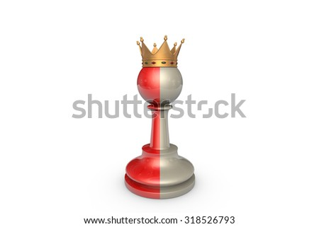 Red and gray pawn-king on a white background isolation. - stock photo