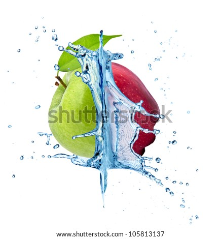 Red and green apple concept with water splash - stock photo