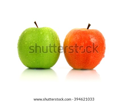 Red and green apple on a white background - stock photo