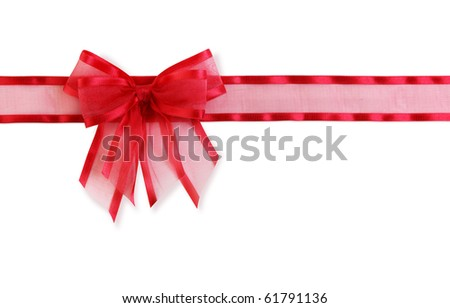 Red and green bow isolated on white background - stock photo