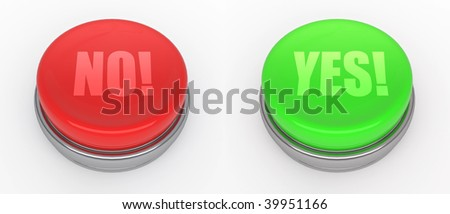 red and green buttons  (3d render) - stock photo