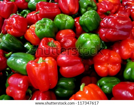Red and Green Capsicums - stock photo