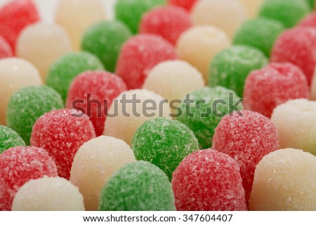Red and Green Christmas Spice Drops Candy with crystallized sugar - stock photo