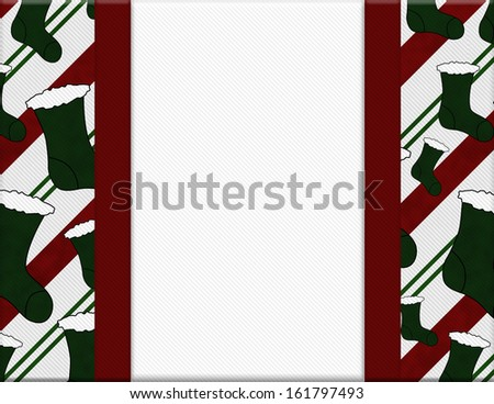 Red and Green Christmas Stockings with Ribbon and center for copy-space, Christmas Time Background - stock photo