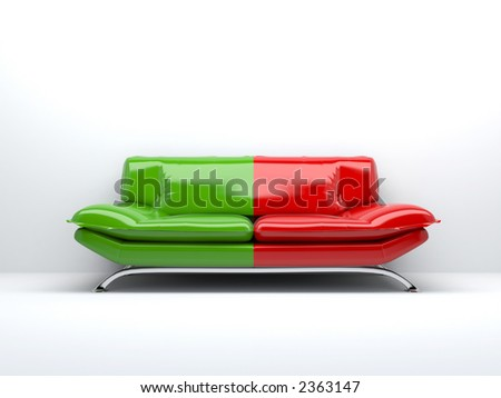 red and green concept sofa isolated on white background 3d - stock photo