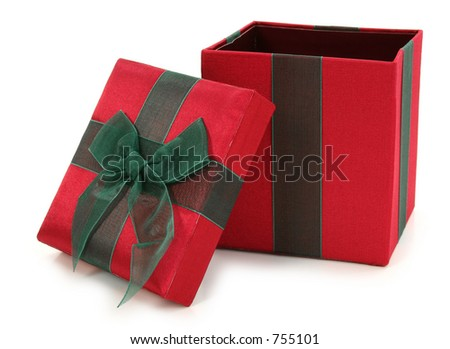 Red and green fabric gift box over white. Top open. - stock photo