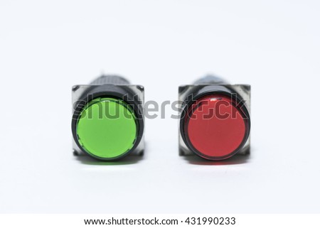 red and green push switches  - stock photo