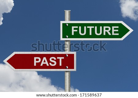 Red and green street signs with blue sky with words Future and Past, Future versus Past - stock photo