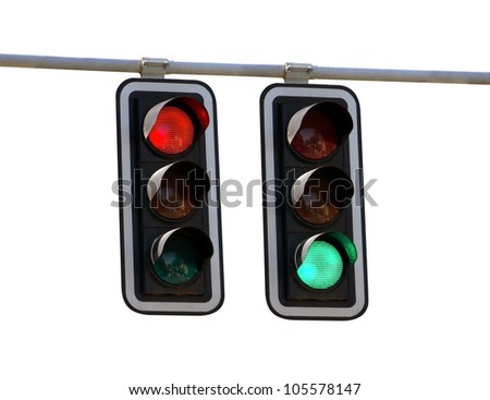 Red and green traffic lights isolated over white backgrounds - stock photo
