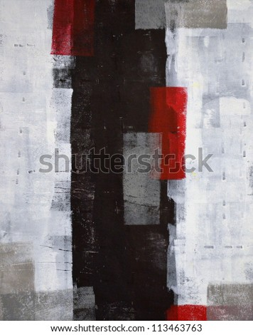 Red and Grey Abstract Art Painting - stock photo