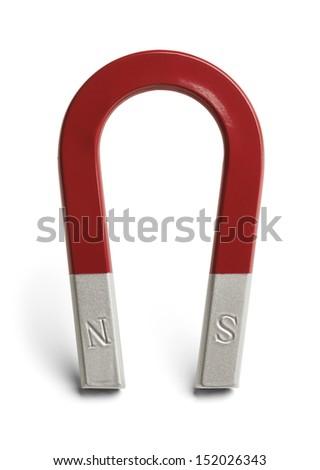 Red and Grey Horseshoe Magnet Isolated on White Background. - stock photo