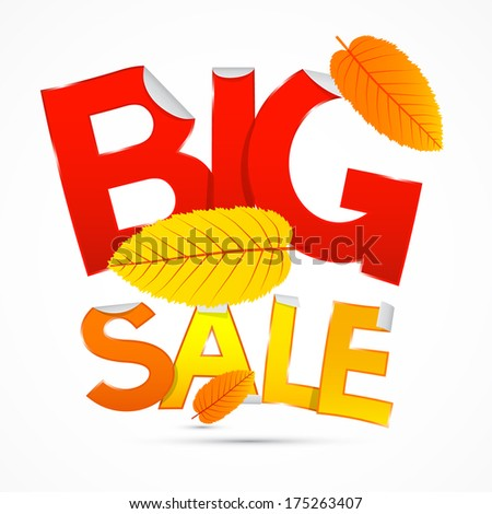 Red and Orange Big Sale Sticker - Label with Leaves on white background  - stock photo