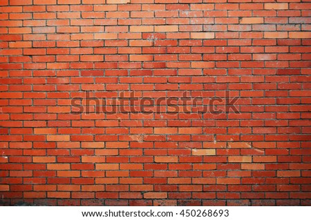 Red and orange colors brick wall texture - stock photo