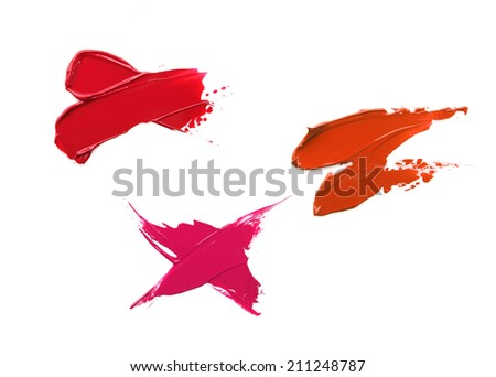 Red and pink lipstick smears - stock photo