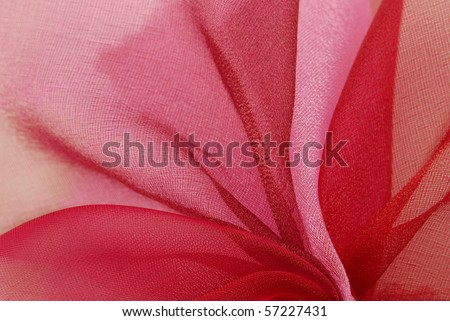 red and pink organza fabric texture background - stock photo